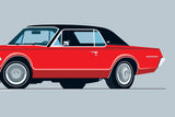 1968 Mercury Cougar Print in Cardinal Red