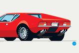 1971 De Tomaso Pantera Print in Bright Red