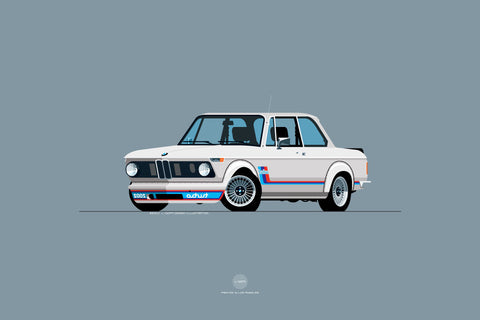 1974 BMW 2002 Turbo Print in Chamonix (White)