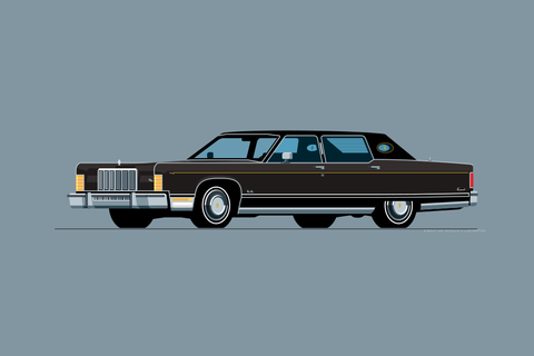 1975 Lincoln Continental Town Car Print in Black