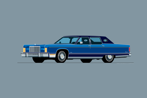 1975 Lincoln Continental Town Car Print in Blue Diamond Fire