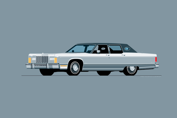 1975 Lincoln Continental Town Car Print in Silver Diamond Fire
