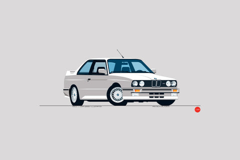 1989 BMW M3 Print in Alpine White