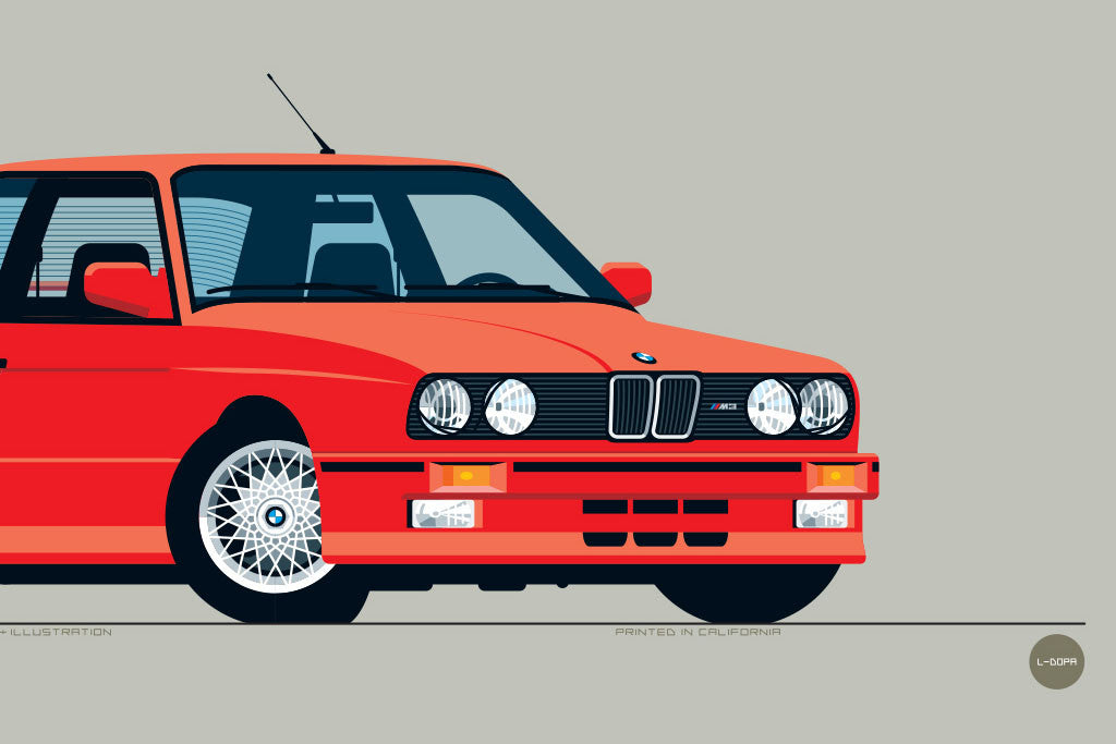 Illustrated 1989 BMW M3 Art Print in Brilliant Red by Nik Schulz ...