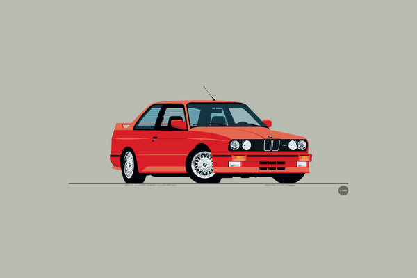 1989 BMW M3 Print in Brilliant Red