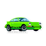 "911 2.7 RS Sticker, green, 5.5"" wide"