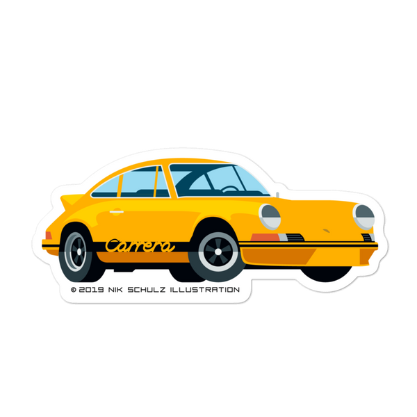"911 2.7 RS Sticker, yellow, 5.5"" wide"