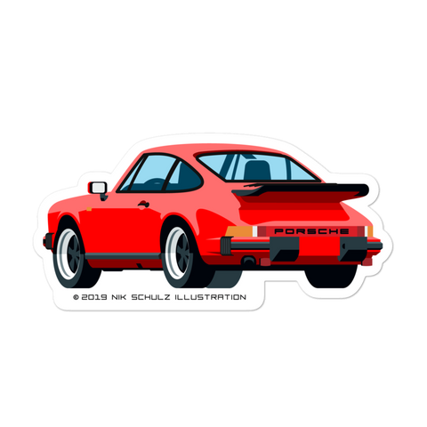 "911 3.2 Carrera Sticker, red, 5.5"" wide"