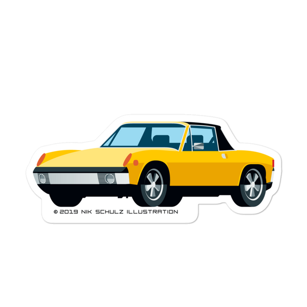 "914 Sticker, yellow, 5.5"" wide"
