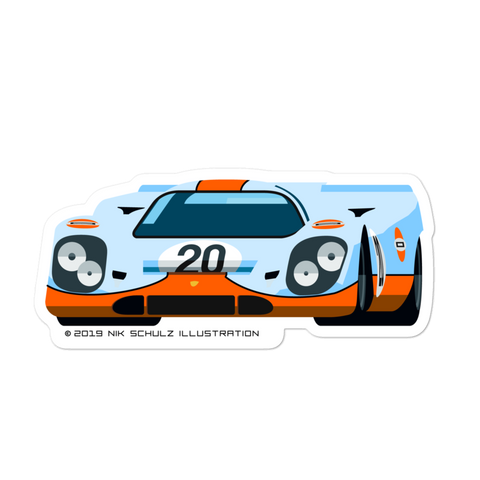 "917 Sticker, Gulf Livery, 5.5"" wide"