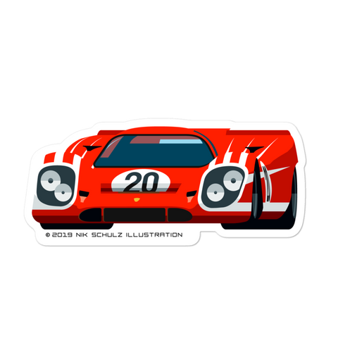"917 Sticker, red, 5.5"" wide"