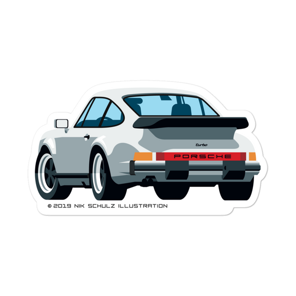 "911 Turbo Sticker, silver, 5.5"" wide"