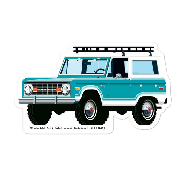 "Bronco Sticker, turquoise, 5.5"" wide"