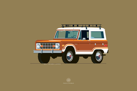 1973 Ford Bronco Print in Carmel Bronze