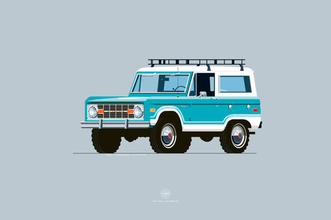 1973 Ford Bronco Print in Frost Turquoise