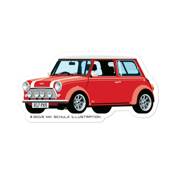 "Mini Sticker, red, 5.5"" wide"