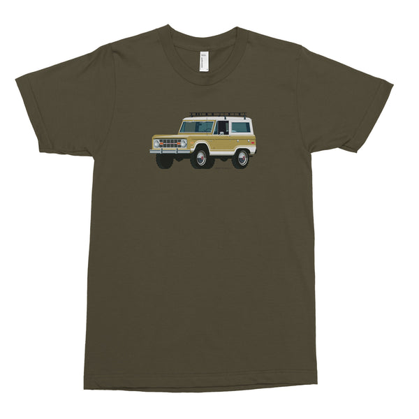Ford Bronco, Truck in Gold on Army Green Men's Tee