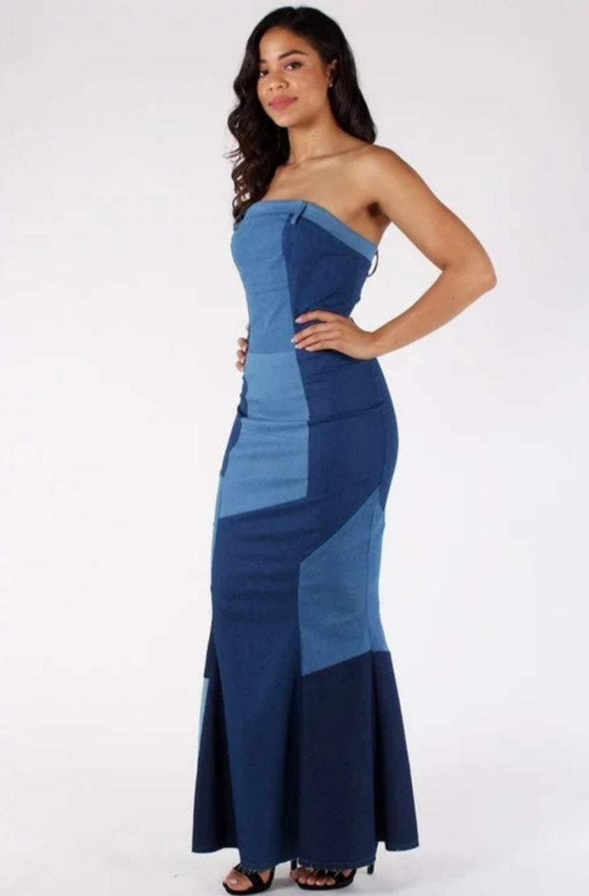 Playful Denim Patchwork Maxi Dress