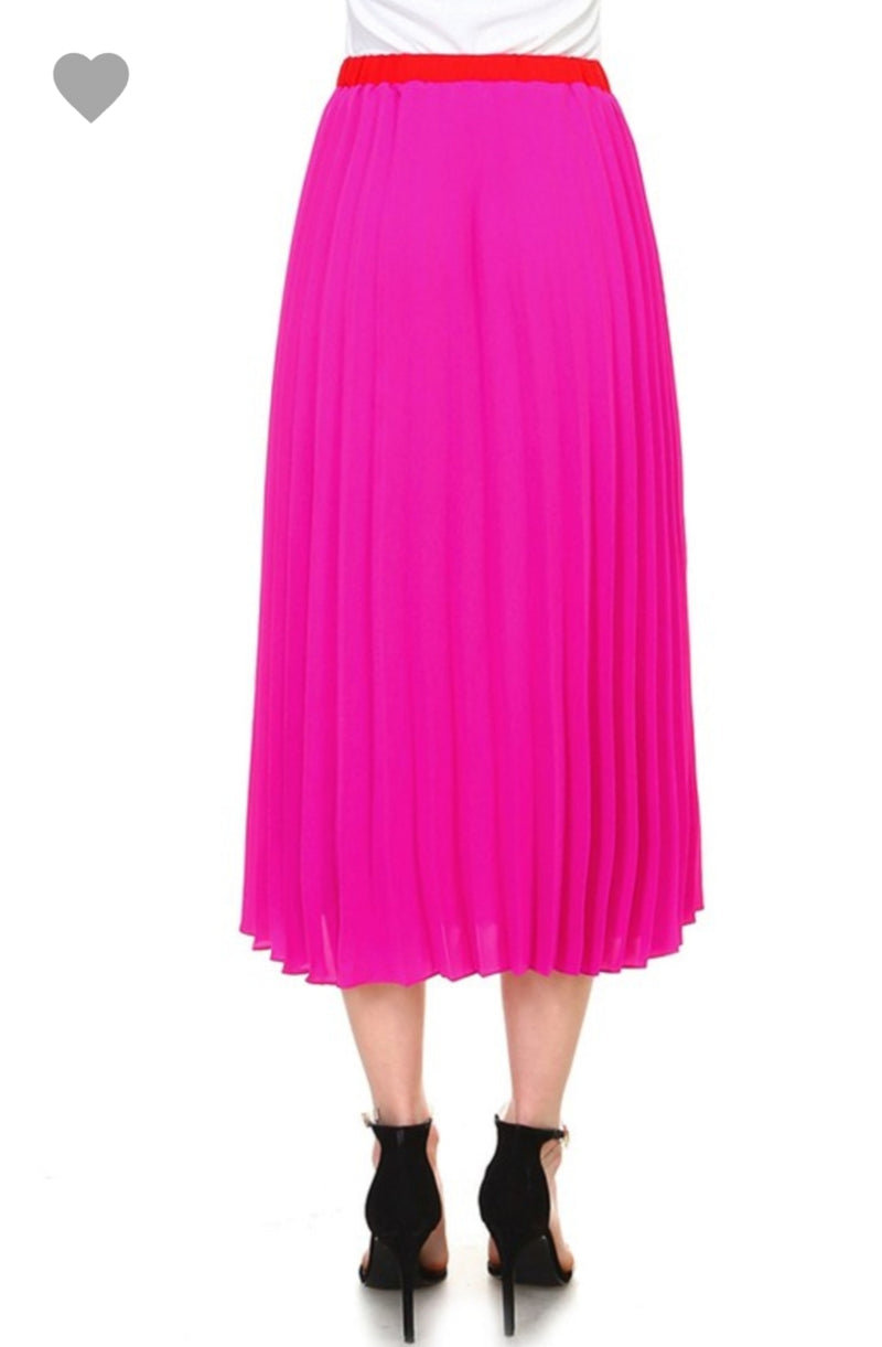 Color Blocking Pleated Skirt