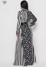 Polka Dots + Stripes Maxi Dress