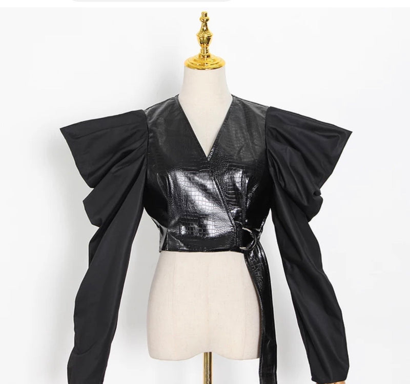 Margareth's Leatherette Crop Top