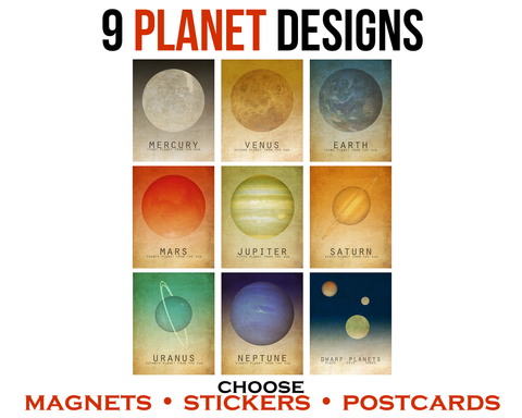 Solar System Gift Pack - 9 Planet Magnets, Stickers, or Postcards
