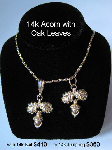 14k Gold Acorn with Oak Leaves Necklace
