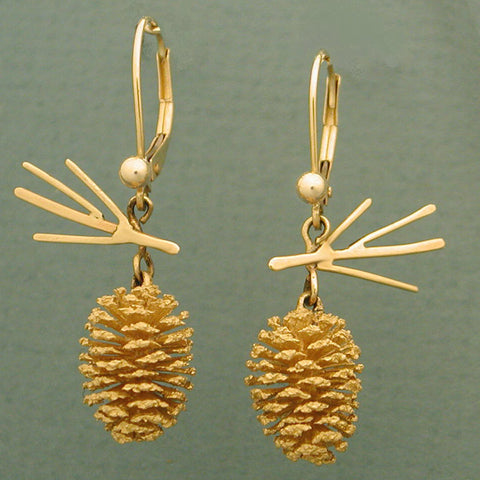 14k Gold Pine Cone Earrings