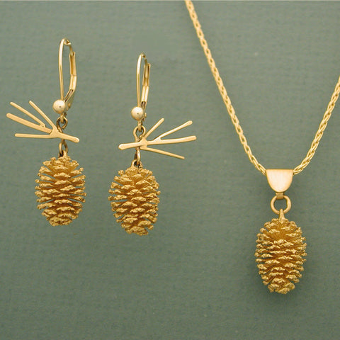Gold Pine Cone Jewelry 14kt