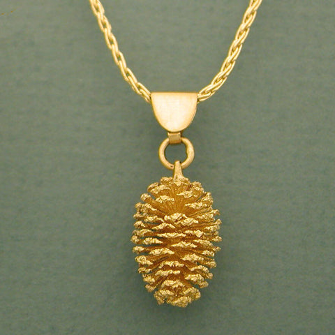 Gold Pine Cone Necklace 14kt