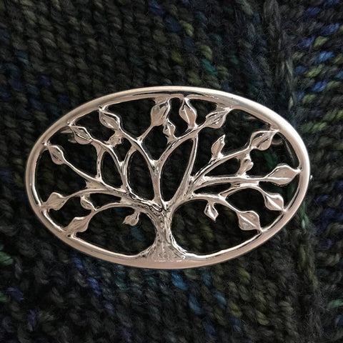"2"" Tree of Life Shawl Pin - sterling silver"