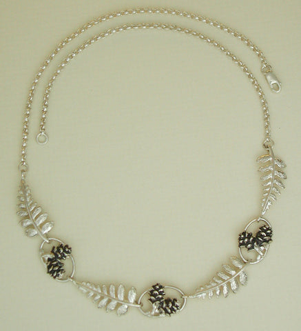 Fern & Pine Cone Necklace - shortened version 7 castings - Sterling Silver