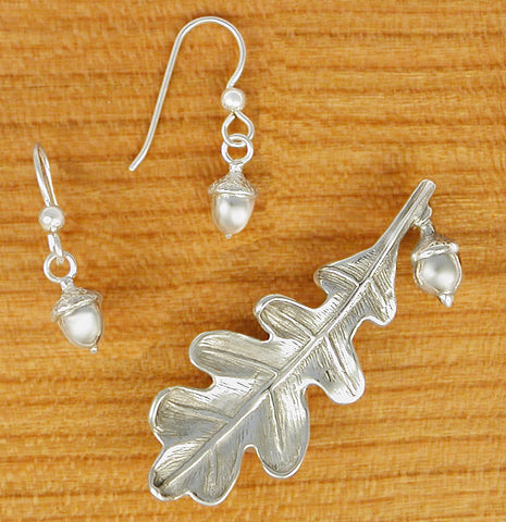 Lg Oak Leaf Pin + Acorn Earrings - sterling silver