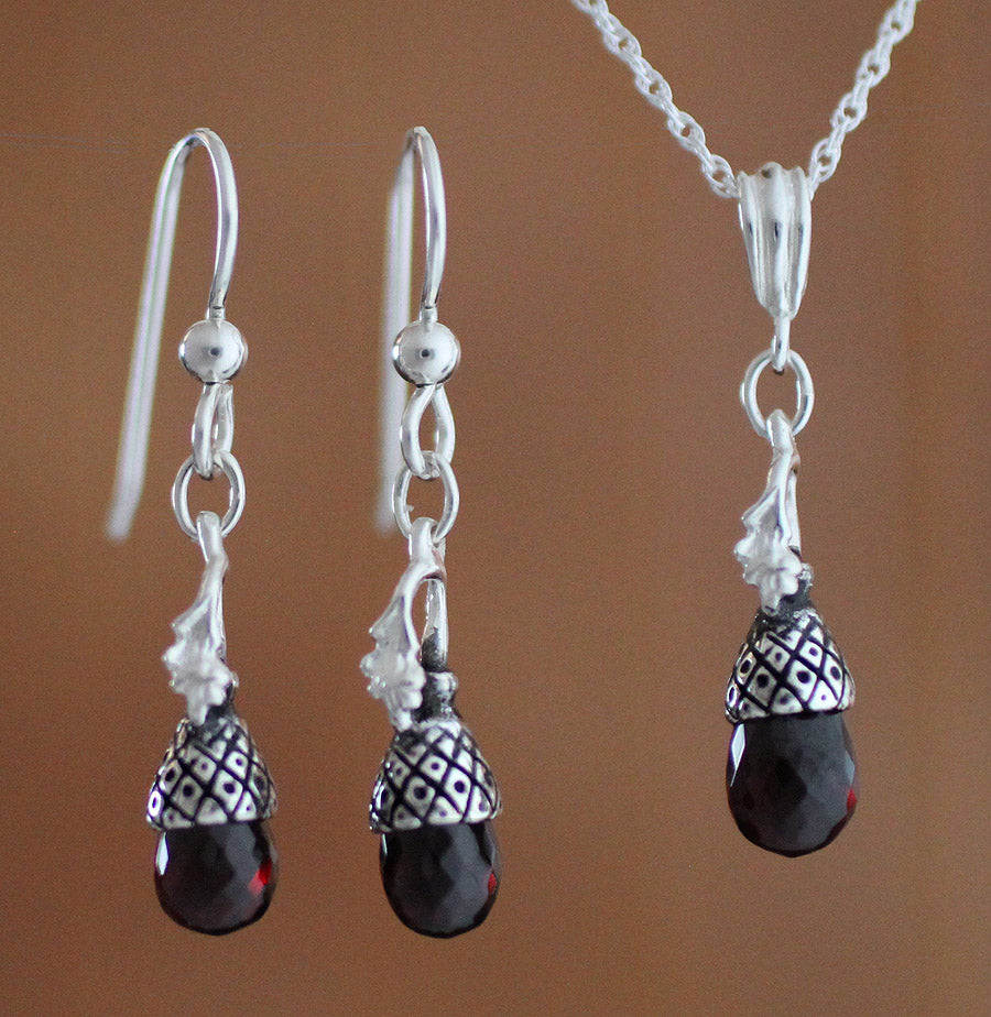 Acorn Cap with Garnet Jewelry - sterling silver