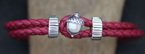Silver Acorn with Braided Leather Bracelet