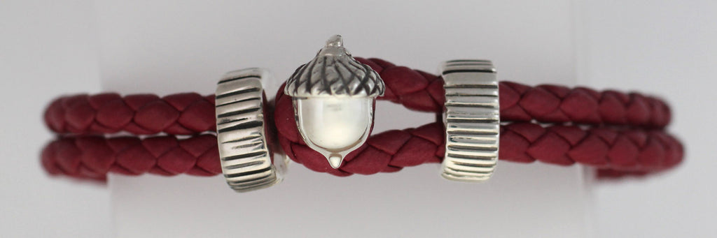 Silver Acorn Braided Red Leather Bracelet