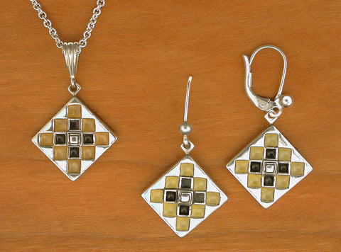 Album Block Quilt Jewelry - enameled sterling silver
