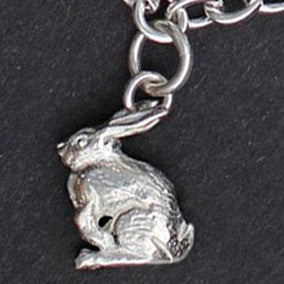Angora Bunny Charm - sterling silver
