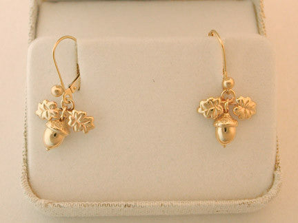 14k Gold Acorn Earrings - lever back