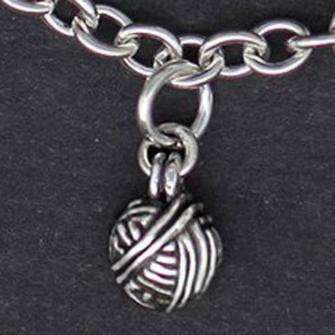 Ball of Yarn Charm - sterling silver