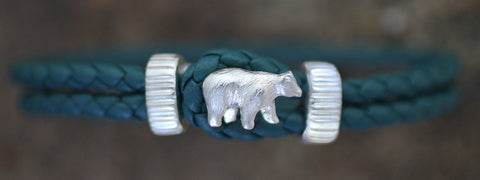 Sterling Silver Bear with Braided Leather Bracelet