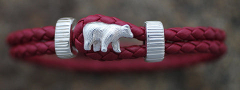 Sterling Silver Bear with Red Leather Bracelet
