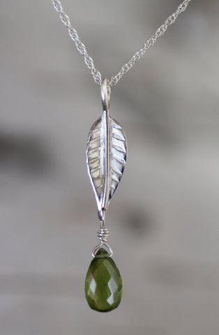 Beech Leaf Designs - sterling silver with vesuvianite briolettes