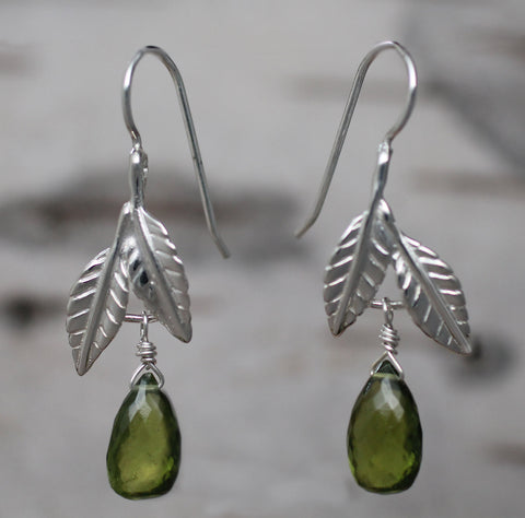 Beech Leaf Earrings - sterling silver with vesuvianite briolettes