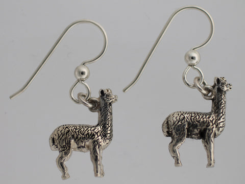 Black Alpaca Earrings - Sterling Silver