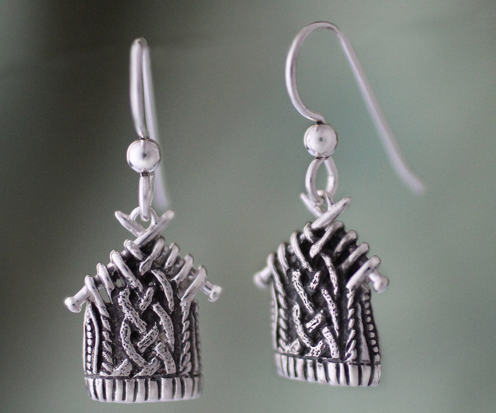 Sterling Knitted Cable Earrings