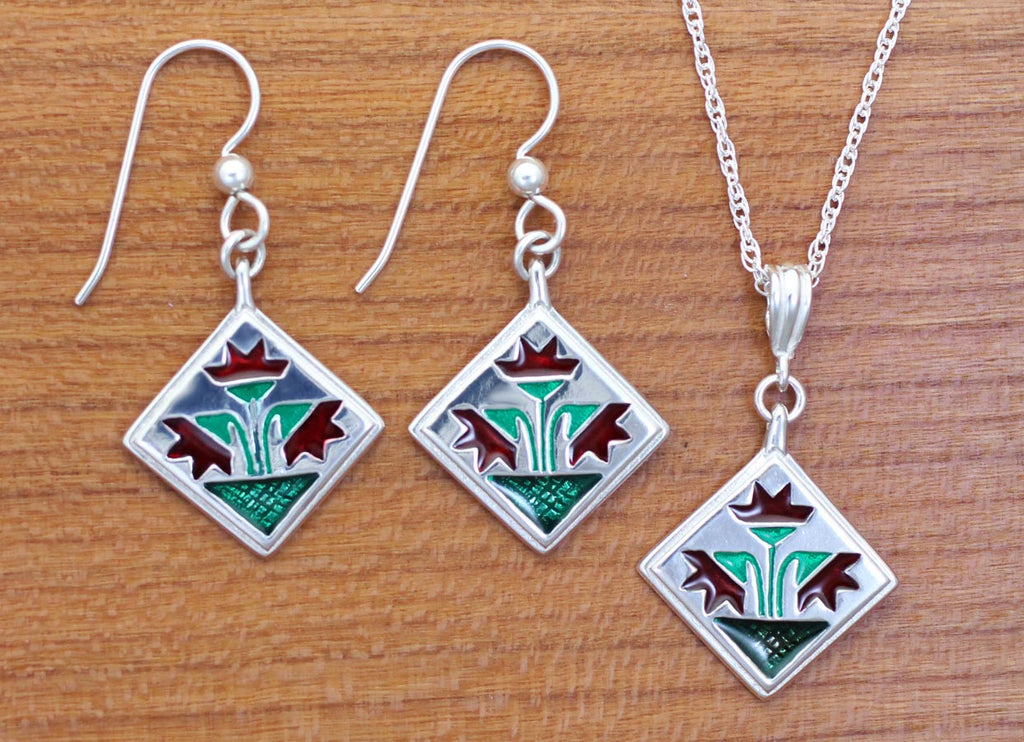 Carolina Lily Quilt Jewelry - enameled sterling silver