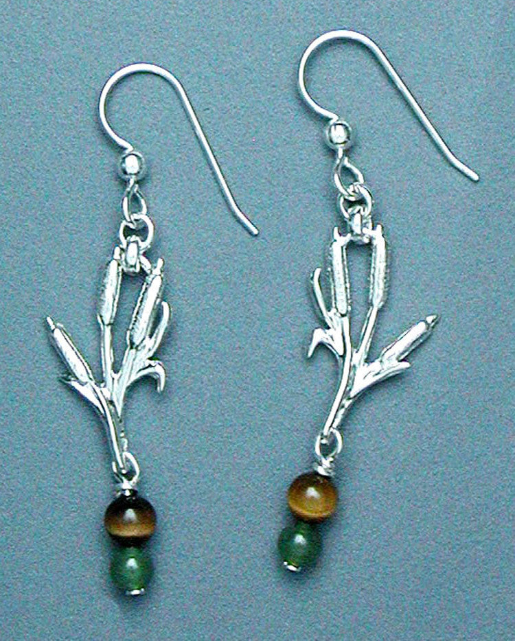 Sterling Silver Cattail Earrings