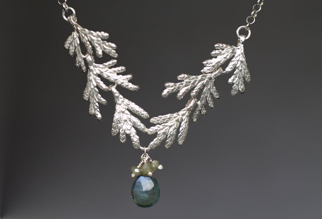 Silver Cedar Bough Necklace Aquamarine  + Green Garnet