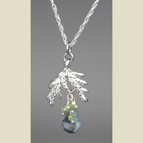 Sterling Silver Cedar Necklace with Moss Aquamarine Gemstones